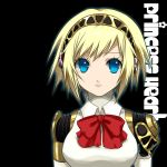 1girl aegis aegis_(persona) amagai_yukino android atlus blonde_hair blue_eyes breasts gradient gradient_background persona persona_3 ribbon solo