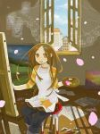 1girl :d apron bad_id brown_eyes brown_hair canvas_(object) cherry_blossoms curtains easel hair_ornament hairclip inase indoors long_hair looking_at_viewer lowres open_mouth open_window original painting painting_(object) palette pants see-through shirt sitting smile solo star star_print stool striped striped_shirt wind window