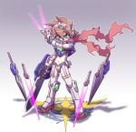 1girl exia green_eyes gundam gundam_00 king_of_unlucky mecha mecha_musume planted_sword planted_weapon scarf shadow solo sword weapon