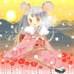 00s 2008 animal_ears flower inase japanese_clothes lowres mouse_ears new_year
