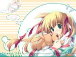 animal_ears blonde_hair fox fox_ears green_eyes ribbon tenmu_shinryuusai twintails