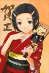 1girl hagoita hair_ornament hairclip hanetsuki japanese_clothes kimono new_year paddle solo takayama_kisai