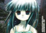 1girl aqua_hair bangs blue_eyes blunt_bangs face furude_rika higurashi_no_naku_koro_ni solo tears translated umiichi_kurage upper_body