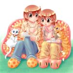 2girls cake cat feeding food frilled_pillow frills fruit multiple_girls original pastry pillow plate siblings sisters slippers strawberry sweater zan