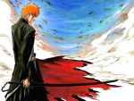 1boy bankai bleach katana kubo_taito kurosaki_ichigo male_focus outdoors sky solo sword wallpaper weapon