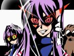 2girls botan clannad cosplay dos_(artist) dos_(james30226) fujibayashi_kyou fujibayashi_ryou hair_intakes kamina_shades long_hair multiple_girls parody purple_hair school_uniform serafuku short_hair siblings sisters style_parody sunglasses tengen_toppa_gurren_lagann twins