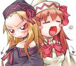 2girls :d =_= bare_shoulders blush chibi dual_persona female forehead frown hat jpeg_artifacts lily_black lily_white long_hair lowres multiple_girls nyagakiya off_shoulder open_mouth orange_hair red_eyes smile touhou