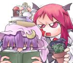 2girls angry cactus chibi female hat head_wings koakuma lowres multiple_girls nyagakiya object_on_head patchouli_knowledge purple_hair reading red_eyes redhead simple_background the_embodiment_of_scarlet_devil touhou upper_body violet_eyes white_background
