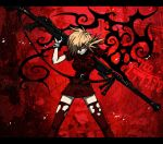 1girl anti-materiel_rifle blonde_hair evil_grin evil_smile false_arm gloves grin gun hellsing miniskirt red_eyes rifle seras_victoria skirt smile sniper_rifle solo thigh-highs torn_clothes torn_thighhighs uniform vampire watermark weapon