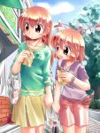 2girls breasts food medium_breasts multiple_girls original road siblings sisters skirt street taiyaki vanishing_point wagashi zan