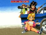 3girls 90s bandaid bandeau bent_over black_eyes black_hair blonde_hair bob_cut boombox breasts brown_hair car explosive ford green_eyes grenade ground_vehicle gun gunsmith_cats jacket midriff minnie_may_hopkins misty_brown motor_vehicle multiple_girls rally_vincent shelby_gt500 short_hair short_shorts shorts shotgun sidelocks sitting small_breasts smile strapless tubetop vehicle wallpaper weapon