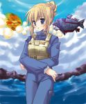 1girl anna_steiner blonde_hair darius darius_gaiden hinata_momo lowres silver_hawk solo storm_causer uniform