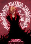 1girl blonde_hair cross dark darkness hellsing looking_at_viewer magic_circle monster red_eyes rhyme seras_victoria solo text