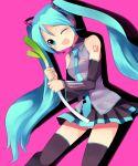 1girl aqua_hair hatsune_miku long_hair mei solo spring_onion subaru_(yachika) thigh-highs twintails very_long_hair vocaloid zettai_ryouiki