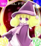 1girl :o ascot bangs blunt_bangs capelet curly_hair drummania hat kuro_(be_ok) long_sleeves looking_at_viewer minitesu open_mouth purple_hair solo twintails upper_body witch witch_hat