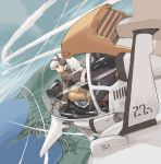 1girl airplane cockpit flying gunship headphones original pilot pota pota_(nabrinko) solo white_hair