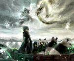 1boy 1girl bamboo black_hair boat chibi_(artist) chibi_(shimon) child crouching_tiger dragon hidden_dragon original panda tiger