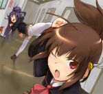 2girls blocking brown_hair fire_extinguisher hallway kicking little_busters! multiple_girls natsume_rin negy open_mouth perspective purple_hair red_eyes sasasegawa_sasami school_uniform thigh-highs white_legwear wince zettai_ryouiki