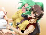 1boy 1girl blush couple green_eyes green_hair hetero higurashi_no_naku_koro_ni maebara_keiichi pin.x sonozaki_mion