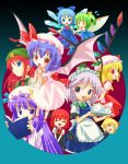 6+girls bat_wings blonde_hair chibi cirno daiyousei everyone female flandre_scarlet hat hong_meiling izayoi_sakuya jpeg_artifacts koakuma maid michii_yuuki multiple_girls patchouli_knowledge red_eyes remilia_scarlet rumia the_embodiment_of_scarlet_devil touhou wings youkai