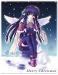 1girl bird_wings black_legwear blue_hair blush capelet christmas hair_ornament holly long_hair looking_at_viewer merry_christmas na-ga night night_sky pointy_ears red_eyes reindeer rooftop sack santa_costume scarf sitting skirt sky snow snowing solo thigh-highs white_wings wings