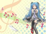 1girl bare_shoulders blue_hair closed_eyes detached_sleeves feathers flat_sign gakky hatsune_miku long_hair music musical_note open_mouth panties pantyshot quaver singing solo staff_(music) striped striped_panties thigh-highs trebel_clef treble_clef underwear very_long_hair vocaloid wings