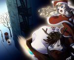 blonde_hair brown_hair capelet christmas delucken flying green_eyes heterochromia reindeer_ears santa_costume sleigh tomiwo