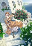 background blonde_hair blue_eyes briefcase castle flower frills lingerie maid ocean original outdoors petticoat running stairs tomiwo underwear