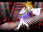 1girl :d autumn_leaves blonde_hair extra_eyes female frog_print full_body hat kneehighs loafers long_sleeves looking_at_viewer magic moriya_suwako open_mouth shoes side_b smile solo stairs sweater touhou white_legwear