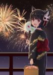 1girl animal_ears azur_lane basket biako black_hair bow eyebrows_visible_through_hair fan fang fireworks floral_print highres holding holding_basket japanese_clothes kimono looking_back mask mask_on_head night night_sky obi open_mouth paper_fan red_eyes sash short_hair sky standing yamashiro_(azur_lane) yukata