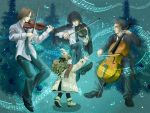1girl 3boys artist_request beamed_quavers black_hair blonde_hair blue_eyes brown_hair cello child christmas closed_eyes flat_sign glasses hair_ribbon instrument long_hair multiple_boys music musical_note original quaver ribbon sharp_sign short_hair staff_(music) treble_clef violin