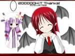 2girls ^_^ bat_wings blush closed_eyes collared_shirt demon_girl expressionless female frills hat head_tilt head_wings jitome koakuma long_sleeves looking_at_viewer mob_cap multiple_girls patchouli_knowledge robe shirt simple_background succubus the_embodiment_of_scarlet_devil touhou vest white_background wings