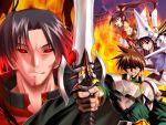 2boys 2girls armor castle fire helmet japanese_clothes multiple_boys multiple_girls oda_nobunaga oda_nobunaga_(rance) pin.x rance rance_(series) sengoku_rance sword uesugi_kenshin_(rance) weapon yamamoto_isoroku_(rance)