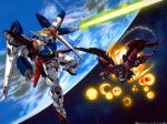 90s battle earth energy_sword epyon gundam gundam_epyon gundam_wing jpeg_artifacts mecha official_art space sword wallpaper weapon whip wing_gundam_zero