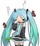 1girl aqua_hair blush detached_sleeves hatsune_miku kuroba_u long_hair skirt solo spring_onion tears thigh-highs twintails very_long_hair vocaloid