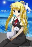 air blonde_hair dinosaur kamio_misuzu ocean ponytail school_uniform serafuku stuffed_toy sugimura_tomokazu