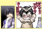 1boy 1girl cardboard_box_gundam gundam gundam_00 hand_to_own_mouth marina_ismail setsuna_f_seiei tears translated