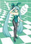 animal_ears aqua_hair bunny_girl bunnysuit hatsune_miku long_hair pantyhose rabbit_ears spring_onion twintails very_long_hair vocaloid