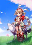 1girl akazukin bad_id cherry_blossoms clover dog four-leaf_clover grass meadow otogi-jushi_akazukin sky solo spring spring_(season) val yoshiwo