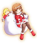 2girls brown_legwear christmas hidamari_sketch miyako multiple_girls pantyhose santa_costume wide_face yn1982 yuno