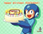 1boy birthday birthday_cake cake candle capcom english food green_background happy_birthday helmet male_focus official_art pastry plate rockman rockman_(character) rockman_(classic) solo wallpaper