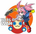 1boy 1girl axe blue_eyes cosplay genius_sage kaze_no_klonoa klonoa klonoa_(cosplay) klonoa_(series) lowres moo_(klonoa) namco pantyhose parody pink_hair presea_combatir silver_hair tales_of_(series) tales_of_symphonia twintails warrior weapon