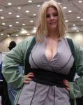 blonde_hair breasts cleavage cosplay huge_breasts lipstick naruto photo tsunade tsunade_(cosplay)
