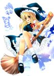 blonde_hair bloomers broom broom_riding dress hat kirisame_marisa mary_janes shirokitsune shoes slip_skirt touhou witch_hat yellow_eyes