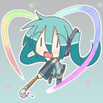 1girl art_brush chibi chibi_miku hatsune_miku heart minami_(colorful_palette) miracle_paint_(vocaloid) paintbrush rainbow solo spring_onion thighhighs vocaloid |_|
