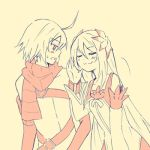 1girl emil_castagnier flower hair_ornament hair_ornaments long_hair lowres marta_lualdi monochrome pink scarf smile tales_of_(series) tales_of_symphonia tales_of_symphonia_knight_of_ratatosk yellow_background