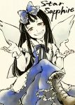 boots bow brown_eyes crossed_legs dress fairy grin hair_bow long_hair shou_shishi shrug sitting smile solo star_sapphire touhou troll_face wings
