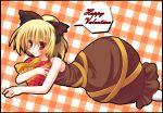 blonde_hair blush fuji_tooya fuji_toya fujitoya hair_ribbon kurodani_yamame long_hair lying on_stomach ribbon sleeveless touhou valentine