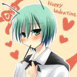 androgynous antenna antennae bad_id blush green_eyes green_hair heart kajiyama lowres pocky reverse_trap solo touhou valentine wriggle_nightbug