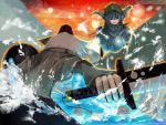 animal_ears battle blue_hair from_behind hat inubashiri_momiji kawashiro_nitori multiple_girls shield showdown silver_hair sword tokoroten_(hmmuk) touhou weapon